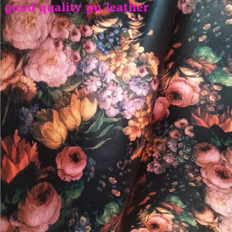Buena Flor de 138cm de ancho Faux Tela de cuero flor impresa PU tela sintética Artificial cuero Material costura Diy ropa Vestido verde Floral para mujer de manga de tres cuartos de alta calidad Primavera Verano Faux Silk Vestidos Vintage Midi Vestidos largos M-3XL