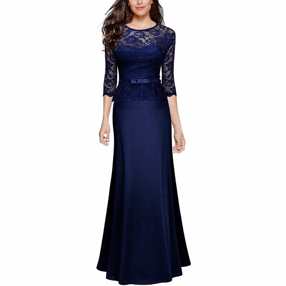Γυναικεία ρετρό Floral δαντέλα Λεπτό Peplum μακρύ βραδινό σέξι φόρεμα Κομψό πάρτι Maxi Φόρεμα Μήκος δαπέδου Φορέματα Ρόμπα Vestidos