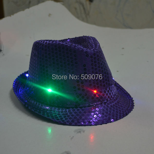 Freeshipping mujeres adultas hombres Fedora LED parpadeante ... 886ca643345