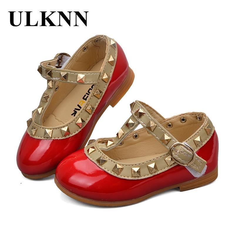 Ulknn niño Niñas Zapatos para niños Zapatos de cuero pisos remache t-correa gladiador romano verano niños Princesa para chica