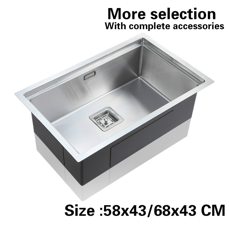 Free shipping Standard kitchen balcony fashion manual sink single trough food-grade 304 stainless steel hot sell 58x43/68x43 CM free shipping food grade 304 stainless steel hot sell kitchen sink double trough 0 8 mm thick ordinary 78x43 cm