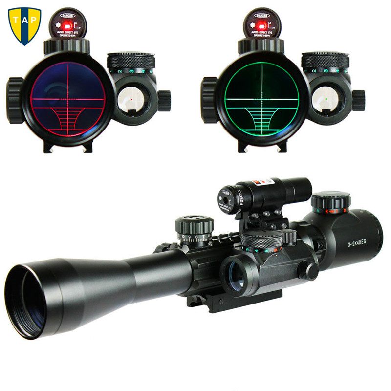 Hunting 3-9X40EG Riflescopes Sight Scope Red Green Illuminated Tactical Riflescope +Holographic Dot Sight  + Red Laser Sight