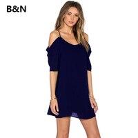 B N Solid Spaghetti Strap Sexy Dress Off Shoulder Short Sleeves Chiffon Women Plus Size Dress