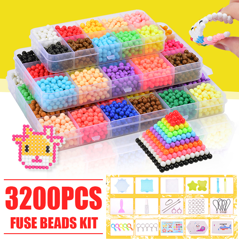 3200pcs Fuse Beads Water Sticky Beads Refill Diy Art Crafts Kids Gift Toys Case High Quality