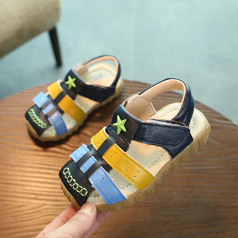Kids Shoes Summer Boys Sandals 2018 New Fashion PU Leather Boys Shoes Closed Toe Soft Non-slip Children Casual Beach Shoes