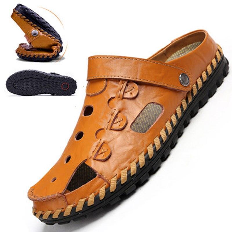 2018 Neue Sandalen Männer Schuhe Mode Exquisit Nähen Sandalen Männer Casual Schuhe Slip Auf Sommer Strand Schuhe Männer Hausschuhe Senility VerzöGern