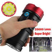 20000LM 10x XML T6 LED Flashlight Torch Tactical Hunting Work Lamp led flashlight 18650 lanterna led t6 laser pointer #4S14