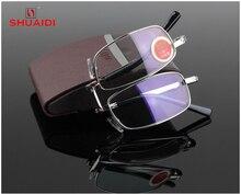 = SHUAI DI = High-End Folding Reading Glasses Men Women Ultra-Light Fashion Portable Spectacles Glass Lenses +1 +1.5 +2 To +4