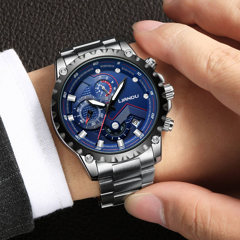 LIANDU Watch Men Fashion Sports Quartz Full Steel Blue Business Mens Watches Top Brand Luxury Waterproof Watch Relogio Masculino sinboi submariner 316 full steel mens watches 2018 black rotatable fashion sports quartz men watch business relogio masculino