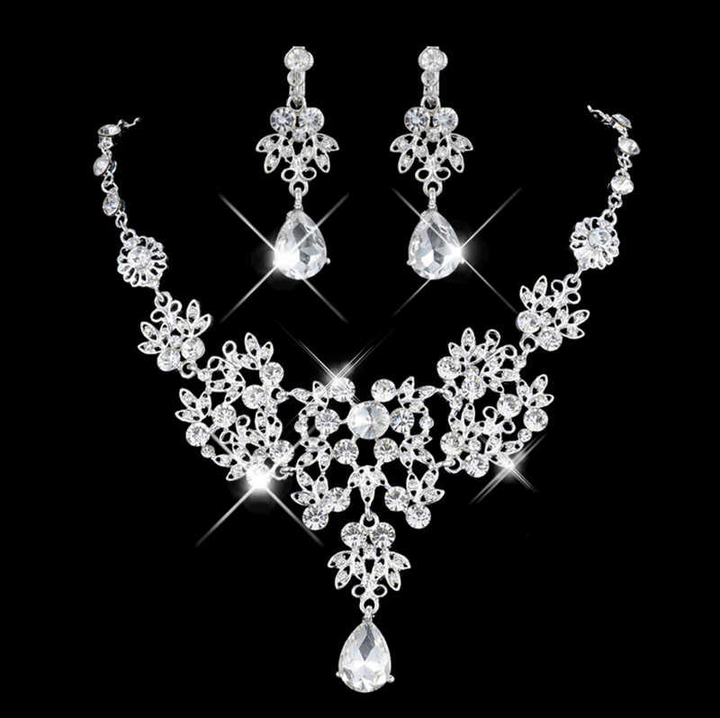 4 Colors Wedding Bridal Jewelry Sets & More for Women Silver White Shiny Crystal Necklace Set Drop Rhinestone Earrings