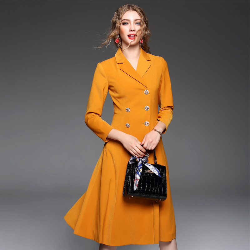 Double breasted Trench Coat For Women Slim Long Trench Coat Black/yellow/wine  red - Popular Women Coat Yellow Trench-Buy Cheap Women Coat Yellow