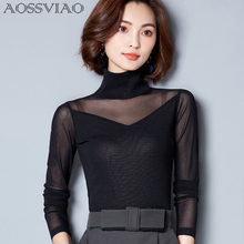 AOSSVIAO 2019 New Women Blouse Shirt Sexy Long Casual Sleeve Lace Under Shirts Hollow Tops For Woman Plus Size