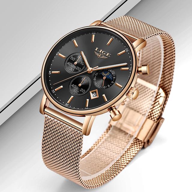 Para hombre de marca superior Nuevos Relojes de lujo reloj de cuarzo ultrafino para hombre reloj de negocios de fase de luna a prueba de agua