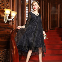 CL8011 Europe And America Early Autumn Women S Clothing Autumn Dresses Printed Loose Irregular Silk Dress