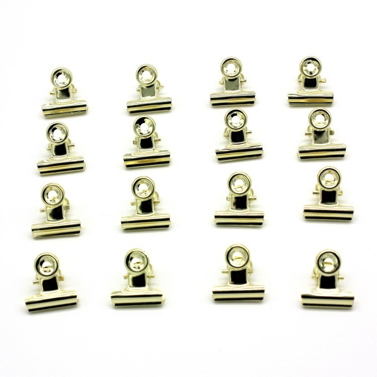 10 PCS Affordable Golden Tone Metal Office Paper Document Binder Clips 22mm