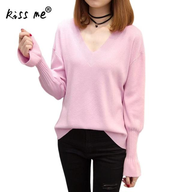 da647af314ca Sexy V Neck Sweater Women Long Sleeve Tight New Design Women s Knitted  Sweater Pullover Jumper Solid Color Fashion Slim Tops L