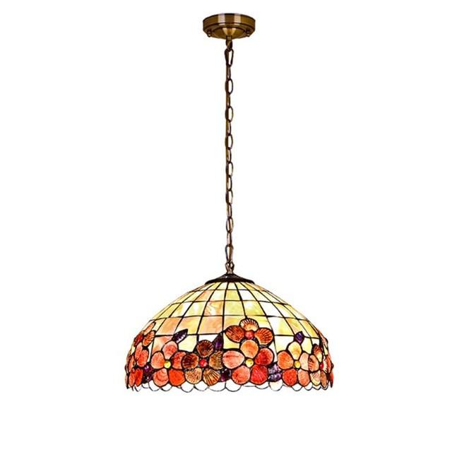 Moderne Tiffany Pendelleuchte Metallkette Shell Abdeckung Leuchte Schlafzimmer Wohnzimmer Esszimmer Hngelampe