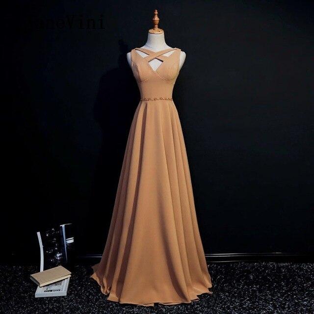9894a1c90e9 JaneVini 2018 Simple Satin Long Bridesmaid Dresses With Beaded V-Neck  Sleeveless Floor Length Robe Demoiselle D honneur Longue