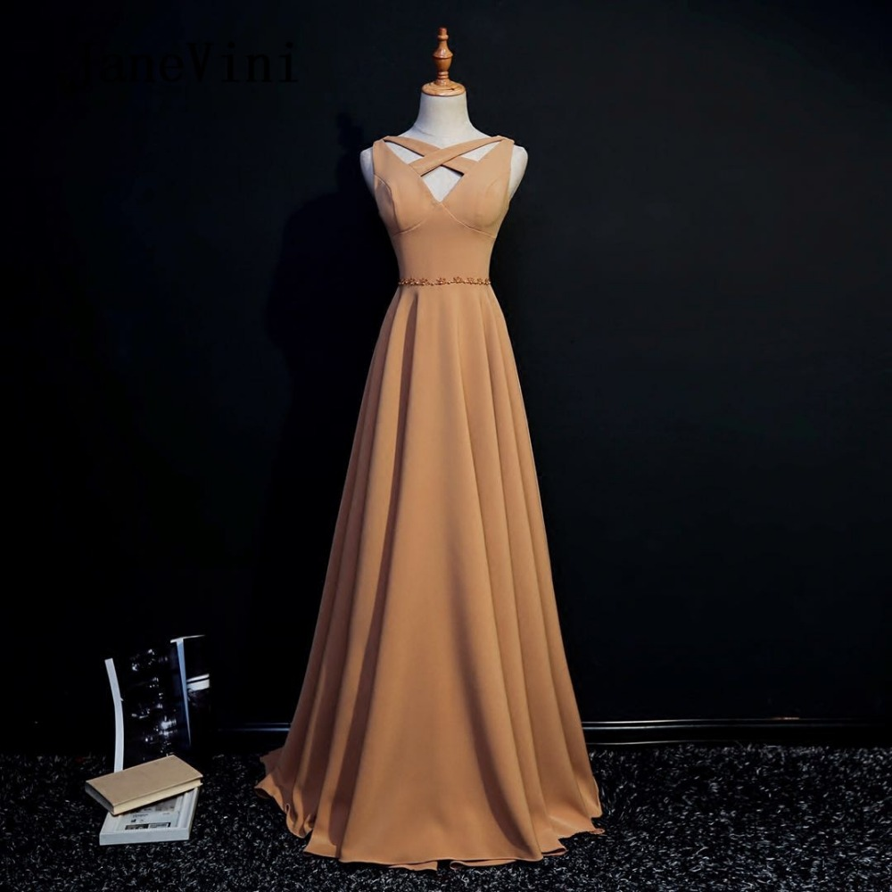 JaneVini 2018 Simple Satin Long   Bridesmaid     Dresses   With Beaded V-Neck Sleeveless Floor Length Robe Demoiselle D'honneur Longue