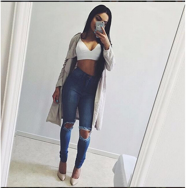 2017 New Style Women Winter Jeans Hot Slim Leggings Elastic Skinny Hip up Holes Ripped Jeans with Two Genuine Pocket Sizes S-XL nydj new optic white women s size 8 five pocket seamed slim skinny jeans $110