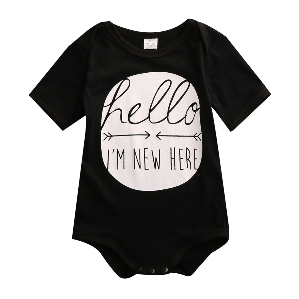 wholesale 2016 summer newborn infant kids baby boy girl cotton romper short sleeve cotton outfit clothes black grey infant baby boy girl 2pcs clothes set kids short sleeve you serious clark letters romper tops car print pants 2pcs outfit set