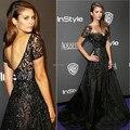 Inspired Nina Dobrev Celebrity Dress 2015 Black Bateau Short Sleeve with Beads Prom Gown Formal Evening Dresses