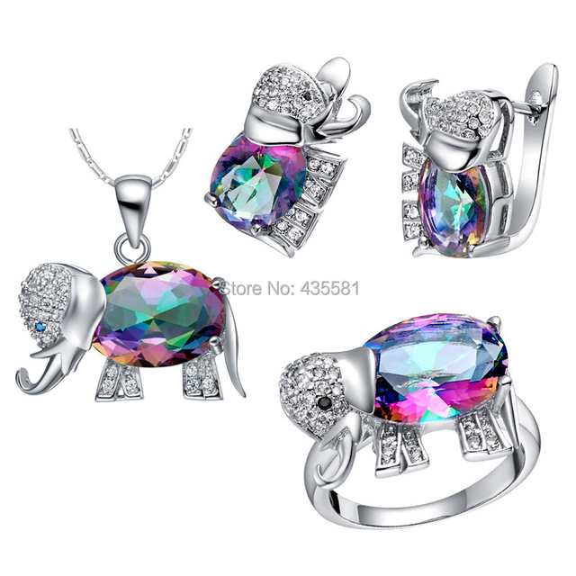 Mystic Fire Topaz Earrings Rainbow Cute Elephant Animal Ring Pendant Necklace Set Jewellry In