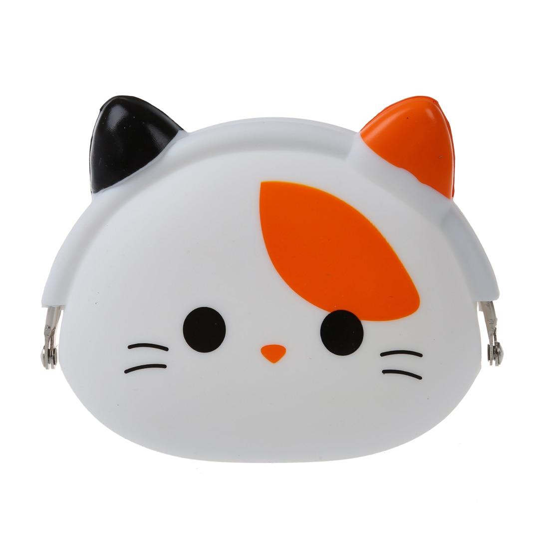 5pcs( ABDB-Women Girls Wallet Kawaii Cute Cartoon Animal Silicone Jelly Coin Bag Purse Kids Gift Small Cat