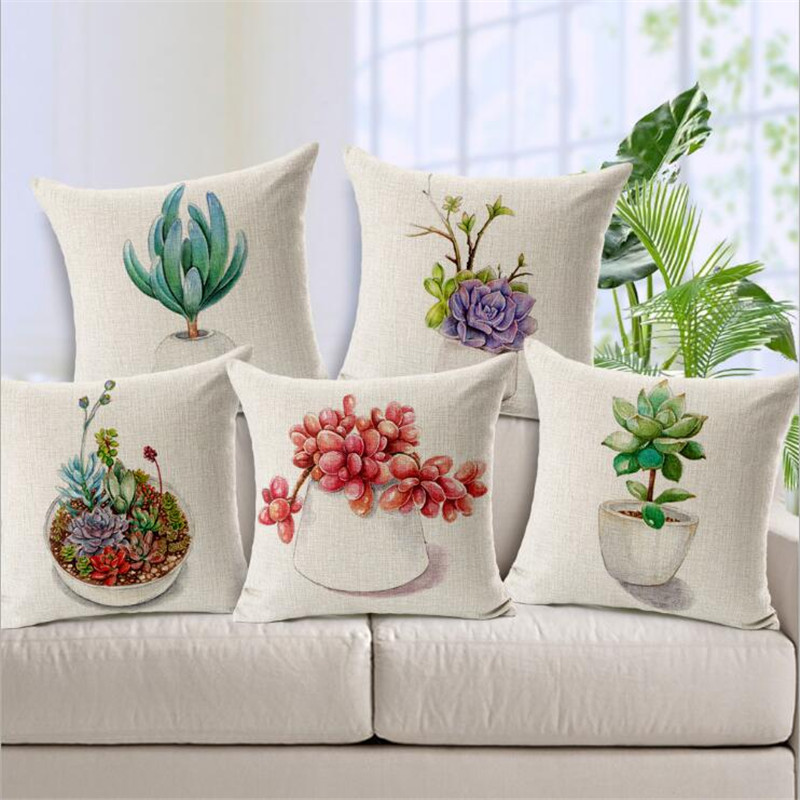 Square 18 Succulents Printed Christmas Cushion Cover Pillows Decor Home Cushions Home Decor Luxury Customized Drop Shipping