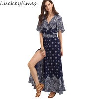 Luckeytimes 2017 Summer Bohemian Maxi Dress Printing Beach Boho Pleated Slim Enthic Long Dresses 3XL V