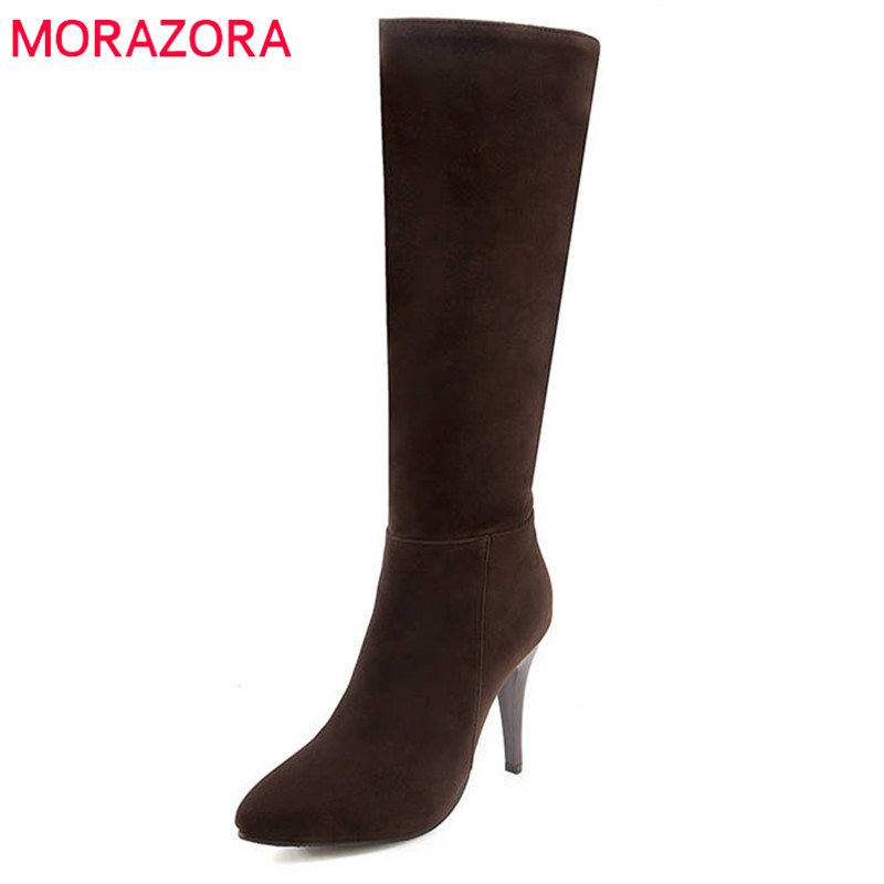 MORAZORA 2020 newest knee high boots pointed toe flock zipper high heels shoes woman fashion autumn winter ladies boots black