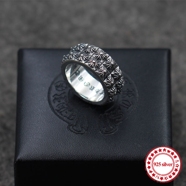 S925 sterling silver men's ring new punk personality retro style double cross army fashion modeling boutique jewelry send lover