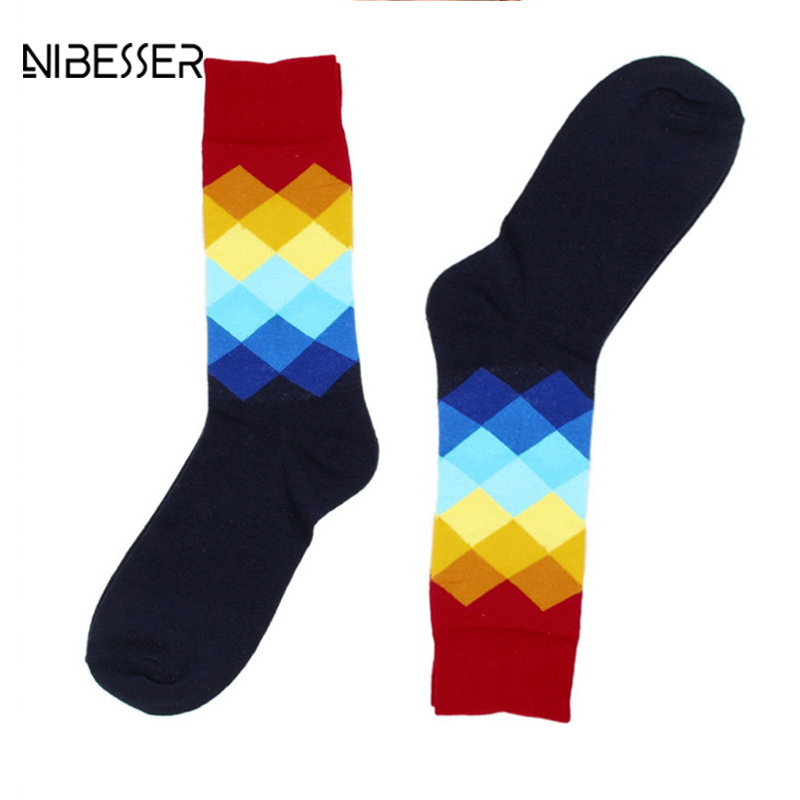 NIBESSER Brand Plaid Gradient Color Men Casual Socks Ankle Length Fitness Socks Cotton+Rolyester Breathable Funny Male Socks