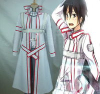 Sword Art Online Kirigaya Kazuto White Uniform Anime Cosplay Costume For Man Halloween Party 4 In1