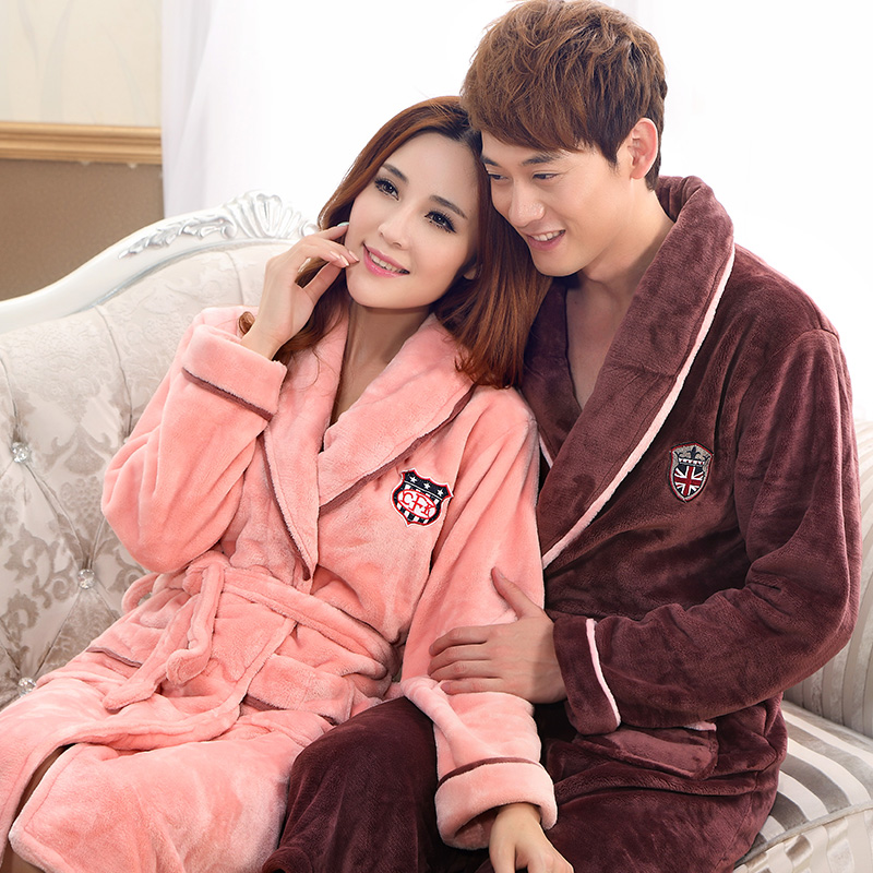 Warm Winter Flannel Robe Couple Pajamas Nightgown Dressing Gown Men's Bathrobe Winter Long Robe Women Bath Robe
