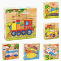 Kids Wooden Cartoon Design Puzzle Toys 6 Sides Colorful Wisdom Jigsaw Puzzle Early Education Toys Parent-Child Game MPT002