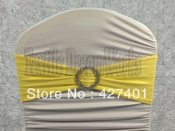 Hot Sale Yellow Spandex Bands / Lycra Band /Chair Covers Sash With Crystal Round Buckle For Wedding & Banquet
