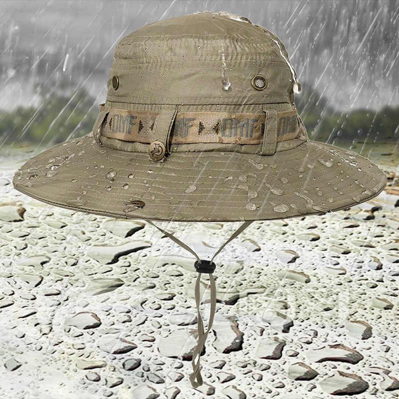 e3920c4bca571 Summer Fishing Sun Boonie Hat Waterproof Summer UV Protection Safari Cap  Breathable Outdoor Hunting Hat men