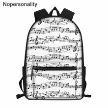 Nopersonality Teenager School Backpack Music Note Prints High School Student School Bags Women Mochila Classic Rucksack Kids Bag