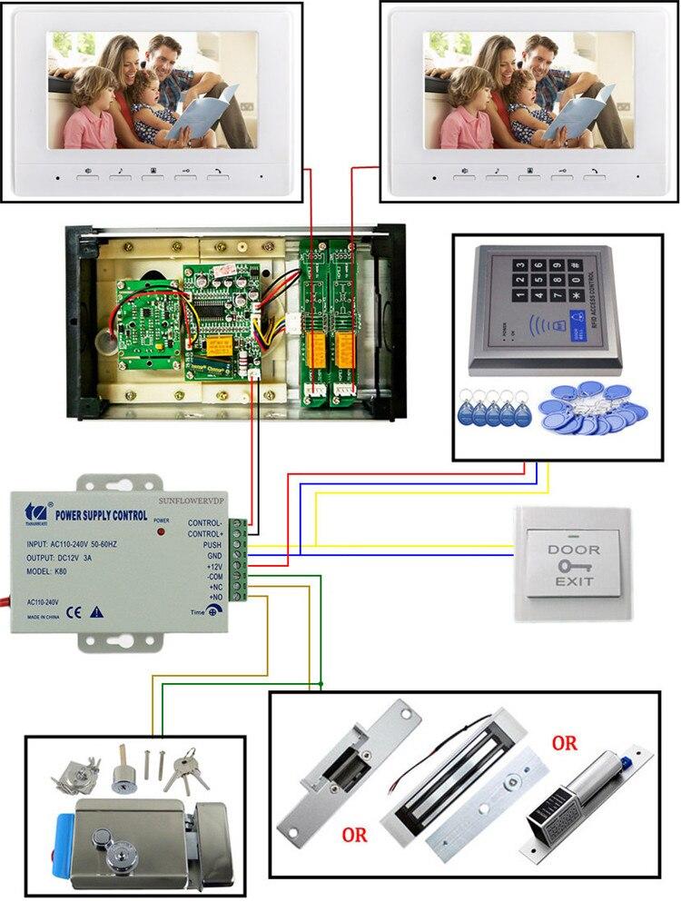 "Купить с кэшбэком Access Control Keypad 2-8 Apartments Video Door Entry Panel Color 7"" Indoor Monitor Video Intercom With Electronic Door Lock Kit"