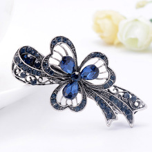 цена на Fashion Floral HairPin Women and Girls Hair Grip Dress and Accessories Finest Alloy Crystal Stud Royal Blue Free Shipping