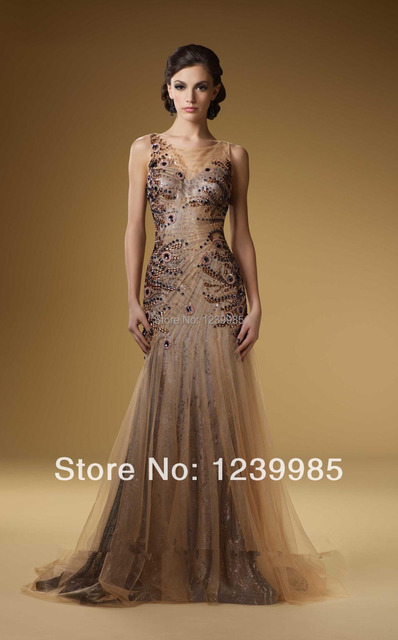 Brown Peacock Prom Dresses