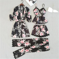 2019 fresh spring new Floral series Silk like soft four Series suit Thin half Women's Sleep wear home clothes Youth for Seasons