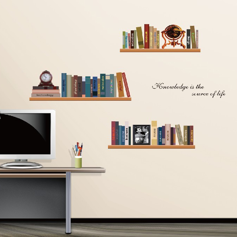 Creative bookshelf wall stickers home decor removable school wall decals children bedroom office wall pictures