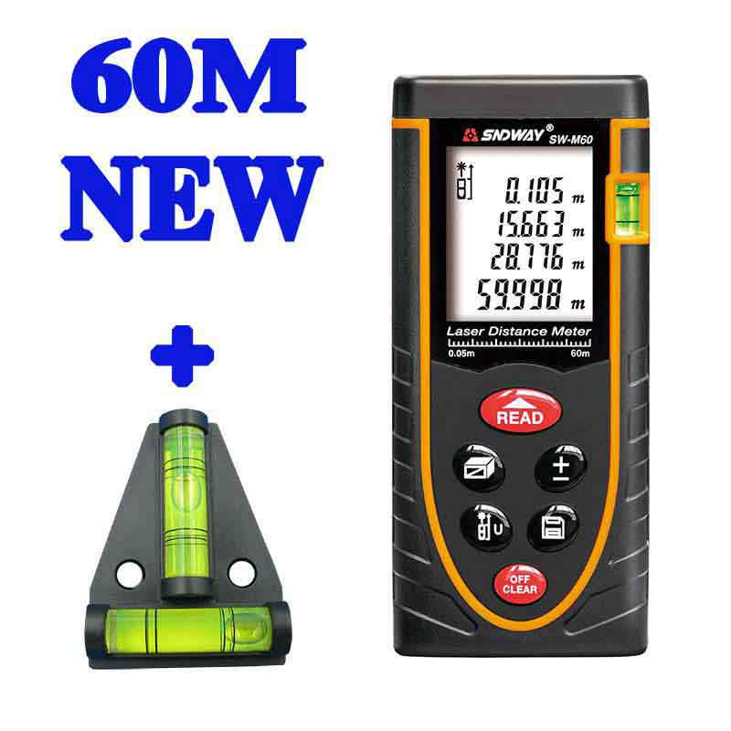 ФОТО 60M Digital Laser distance meter Bubble level Rangefinder Range finder Tape measure Area/Volume M/Ft/in Tool+Level bubble