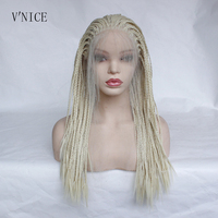Natural Long Platinum Blonde Wig with Baby Hair Heat Resistant Fiber Synthetic Lace Front Braid Wig Braided Box Braids Wig