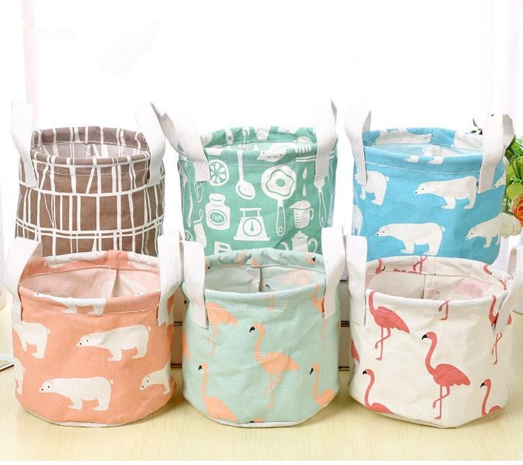 1PC Cotton Fabric Desktop Linen Storage Basket Storage Basket Cartoon Flamingo Makeup Cosmetic Organizador Organizer OK 0460