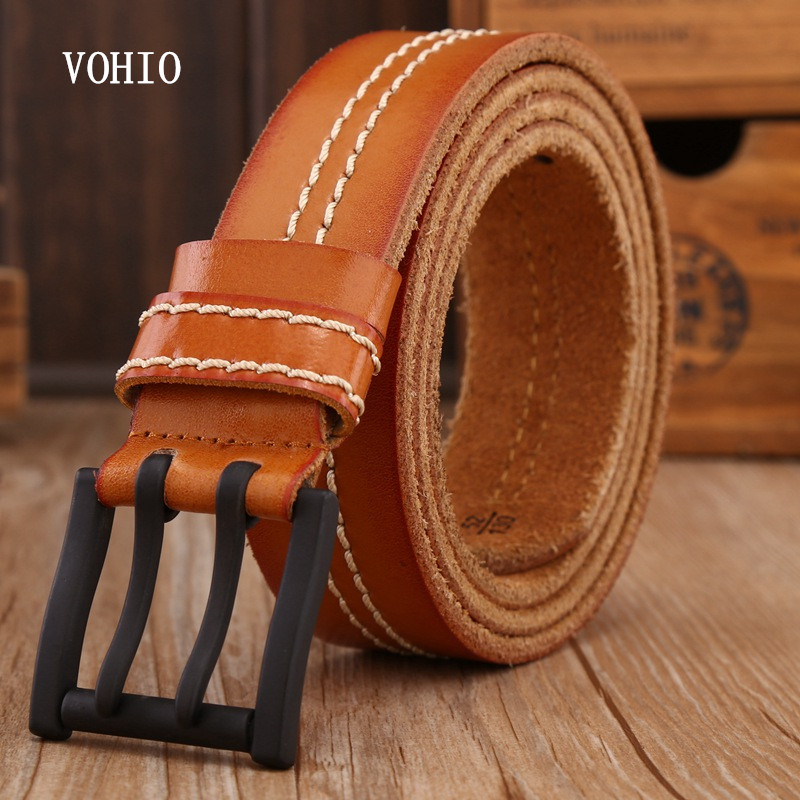 VOHIO 2017 Genuine Leather Belt Black Buckle Casual Pants Two Needle Buckle Belt Head Creams Mens Belt Two Threads Jeans Brand