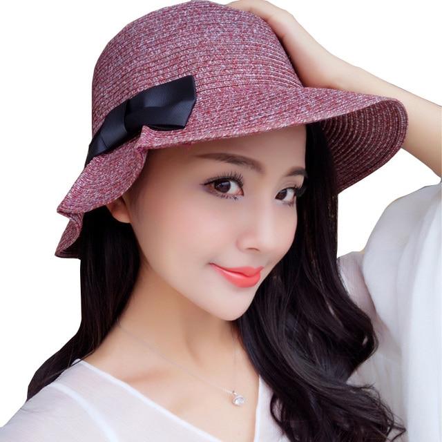 ZFQHJJ Korean Women Girls Summer Soft Straw Bow Cloche Sun Hat Packable  Travel Beach Sun hats Khaki Black red coffee a7059ff79dcb