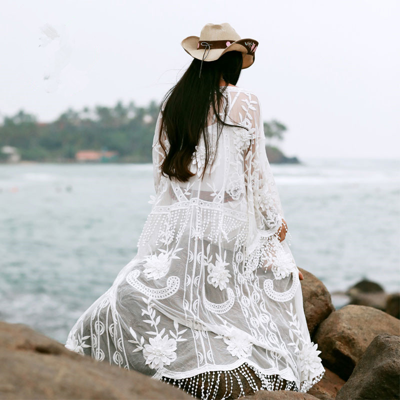 Jessica's Store Summer Women Bohemia Casual Loose V Neck Tassel Embroidery All Match Long White Lace Shirt Cardigan Outerwear